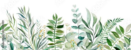 Fényképezés Watercolor botanical leaves seamless border illustration