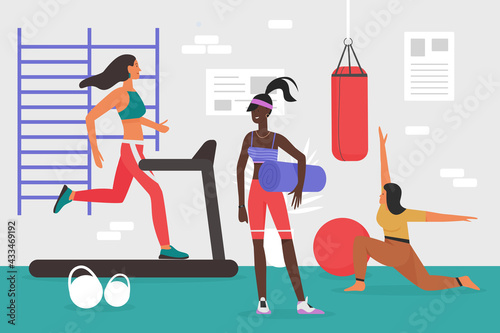 People doing sports workout in gym vector illustration. Cartoon young sportive woman characters in sportswear training body, girls run on treadmill, practice yoga pilates healthy exercise background - fototapety na wymiar