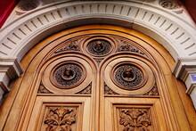 Hand Carved Wooden Door, Impressive Artistic Details In A Door Of A Building In Lyon, France