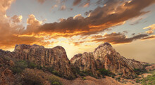 Panorama Of Golden Sunset At Big Bend National Park, Texas