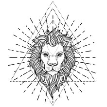 Ornate Lion Head Over Sacred Geometry. African, Indian, Totem, Tattoo, Sticker Design. Design Of T-shirt, Bag And Poster. Vector Isolated Illustration In Black And White Colors. Zodiac Sign Leo.
