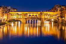 Ponte Vecchio Over Arno River In Florence, Italy At Blue Hour After Sunset.