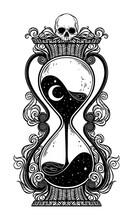 Antique Skull Hourglass Illustration