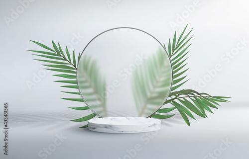 3d abstract background with marble pedestal Fototapete