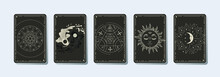 Set Of Decorative Tarot Cards. Magic Occult Tarot Cards, Esoteric Boho Spiritual Tarot, Retro Vintage Engraving Style. The Sun, Moon Phases, Crystals, Magic Symbols. Print In The Interior