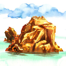 Amazing Tropical Island With Rocks Against Blue Sky And Sea, Atoll In Ocean, Panorama, Hand Drawn Watercolor Illustration On White Background