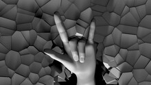 3D Hand With Hand-horns Sign Appears From Cracked Wall Projection Mapping Lo
