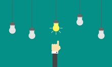 Hand Of Businessman Enlightened By Bright Idea Flat Style