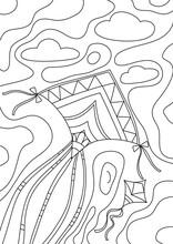 Coloring Book Kite Cute Line Art Hand Drawn Artwork Vector Illustration A4