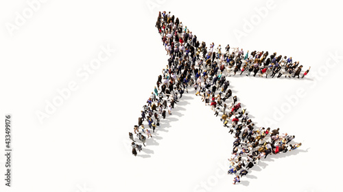 Concept conceptual large community of people forming the airplane sign. 3d illustration metaphor for modern, fast, comfortable and  secure transportation, holiday and business - fototapety na wymiar