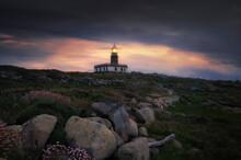 Corrubedo Lighthouse In Galicia, Spain