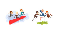 Business People Competition Set, Office Employees Competing Among Themselves Cartoon Vector Illustration