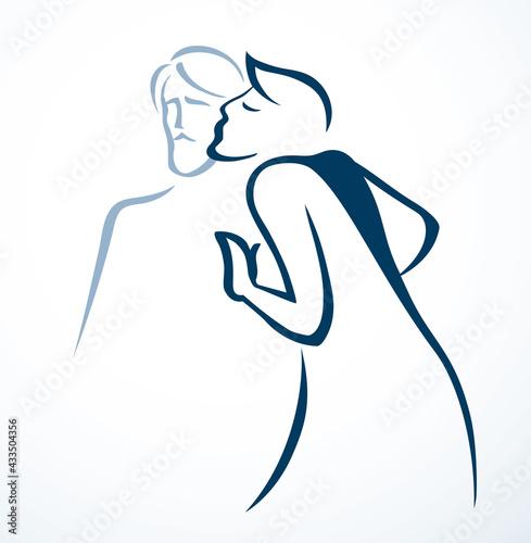 Fotografia Kiss of Judas. Betrayal. Vector drawing