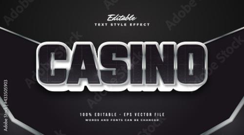 Billede på lærred Bold Black and Metal Casino Text with Embossed Effect