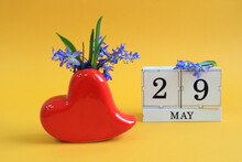 Calendar For May 29 : A Bouquet In A Heart-shaped Vase With Blue Flowers And The Number 29 On Cubes, The Name Of The Month Of May In English, Yellow Background