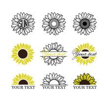 Sunflowers Set, Sunflower Monogram Frame, Yellow Sunflower With Brown Center, Sunflower Outline