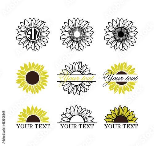 Fotografia Sunflowers set, Sunflower monogram frame, Yellow sunflower with brown center, Su