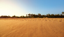Panoramic View Of A Wide Empty Tropical Beach At Sunset, Sri Lanka.