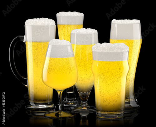 Obraz Set of fresh light beer glasses with bubble froth isolated on black background. - fototapety do salonu