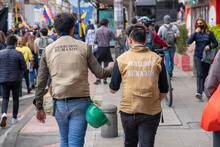 Bogota, Colombia,  May 12, 2021 Human Rights Defenders During Demonstration Against Government Reforms And Violence
