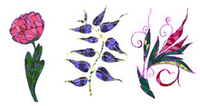 Set Of Three Flowers In A Mosaic Style On An Isolated Background.