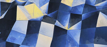 Abstract Geometric Shapes. Yellow And Blue. Panoramic Background