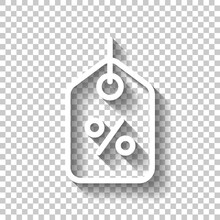 Shopping Tag, Discount Coupon, Label With Percentage Symbol, Low Price. White Linear Icon With Editable Stroke And Shadow On Transparent Background