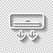 Air Conditioner, Climate System, Simple Icon. White Linear Icon With Editable Stroke And Shadow On Transparent Background