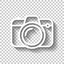 Photo Camera, Simple Digital Icon. White Linear Icon With Editable Stroke And Shadow On Transparent Background