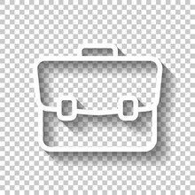 Simple Briefcase, Business Icon. White Linear Icon With Editable Stroke And Shadow On Transparent Background