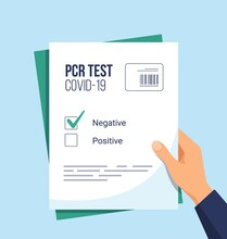 Negative Result On PCR Test For Covid-19. Hand Holding Certificate Of Absence Of Disease. Coronavirus Prevention. Health Care Concept. Vector Illustration In Flat Style