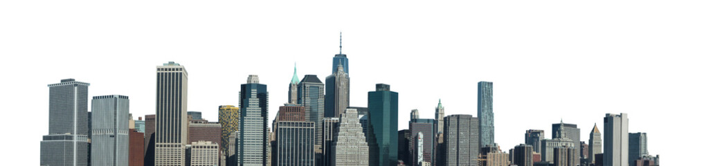Cityscape of Manhattan (New York, USA) isolated on white background