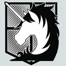 Attack On Titan Military Police Logo Flag Black White - Illustration Vector Art