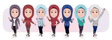 Vector Illustration Of Cartoon Caricature Of Group Of Muslim Women In Various Poses And Suits Isolated On White Background.