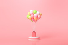 Online Shopping Concept. Balloons And Gift Boxes With Shopping Bag On Pink Background. 3D Render Illustration