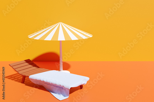 3d illustration of a beach chair with a white beach towel under a striped parasol, on an isolated orange background Fototapeta