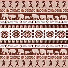 African Pattern With Silhouettes Of African Women And Elephants