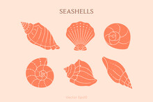 Set Of Seashells Outline Icons In A Trendy Minimal Style. Vector Illustration Of A Conch, Snail, Scallop And Oyster