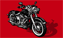 Classic Motorcycle In Woodcut Style, Vector, Atwork