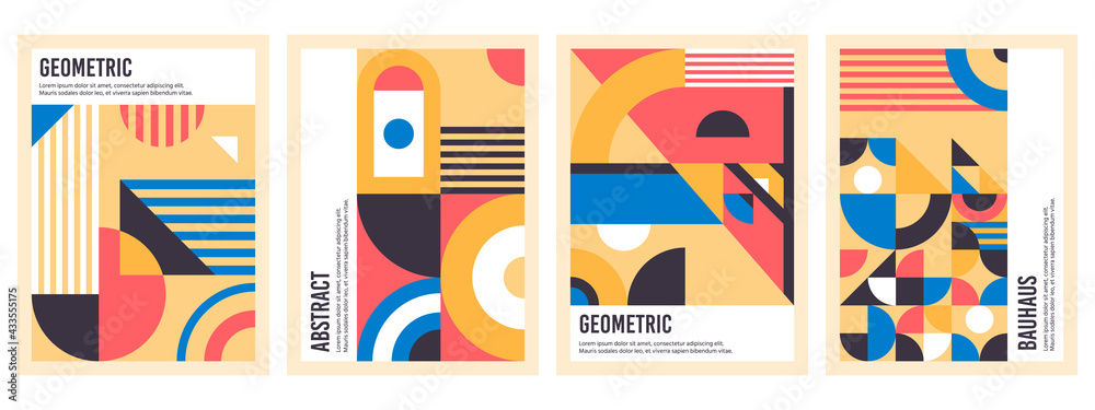 Bauhaus posters. Abstract geometric patterns, circles, triangles and square bauhaus banner vector illustration set. Graphic bauhaus design posters - obrazy, fototapety, plakaty