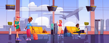 Airport Terminal With Waiting People, Chairs, Luggage, Security Scanner And Schedule Display. Vector Cartoon Interior Of Departure Area With Seats, Metal Detector, Vending Machine And View To Plane
