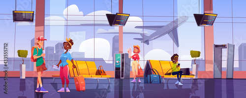 Airport terminal with waiting people, chairs, luggage, security scanner and schedule display. Vector cartoon interior of departure area with seats, metal detector, vending machine and view to plane - fototapety na wymiar