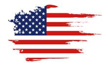 Flag Of The United States Of America, Brush Background. USA Flag Brush Vector.  Happy 4th Of July USA Independence Day Greeting Card. Lettering And American Flag Grunge Brush Paint Background.
