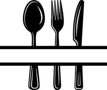 Spoon Fork Knife Split Svg Cut File | Spoon Svg | Fork Svg | Knife Svg | Kitchen Svg | Split Monogram Svg | Cooking Svg | Cutlery Svg | Eating Utensils Svg