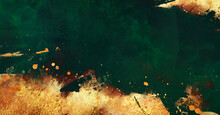 Golden Abstract Elements On A Stylish Dark Green Background With Watercolor Texture