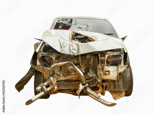 Fotografie, Obraz car destroyed isolated on white background, car damage and wreck from accident ,