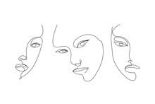 Vector Set Of Hand Drawn Linear Art, Woman Faces, Continuous Line, Fashion Concept, Feminine Beauty Minimalist. Print, Illustration For T-shirt, Design, Logo For Cosmetics, Etc. Art Poster