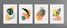 Series Of Vector Wall Art Posters On A Botanical Theme. Set Of Hand Drawn Line Of Foliage And Geometric Shapes. Abstract Plant Design For Prints, Covers, Wallpapers, Minimalistic And Natural Wall Art.