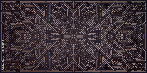 Fényképezés Vector abstract geometric golden background