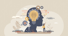 Forward Thinking Or Leader Solution For Development Ahead Tiny Person Concept. Progress Direction With Innovative Future Vision Vector Illustration. Business Ambitions And Confident Skill Experience.
